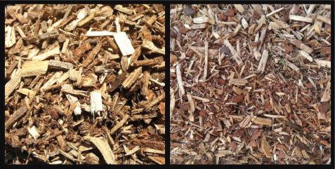 (Left) Coarse woodchip. (Right) Fine woodchip (sieved).